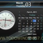 Calendario y reloj, gadget para Windows 7