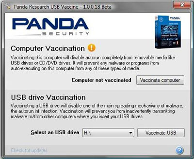 vacuna usb panda security windows 7