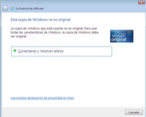 esta copia de windows no es original